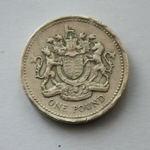 UNITED KINGDOM / BRITISH 1993 ROYAL COAT OF ARMS ROUND 1 COIN. POUND COIN. A