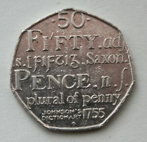 BRITISH 2005 JOHNSON'S DICTIONARY 50P COIN. FIFTY PENCE.  A