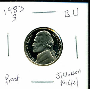 1983 S GEM BU PROOF JEFFERSON NICKEL 5 CENT BRILLIANT UNCIRCULATED PF COINC1243