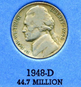 1948 D JEFFERSON NICKEL   US AMERICAN OLD NCIE 5 CENT COINFIVE A3550