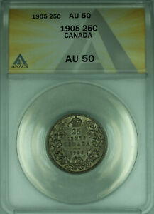 Click now to see the BUY IT NOW Price! 1905 CANADA 25 CENTS QUARTER SILVER COIN ANACS AU 50 BETTER COIN  WB1