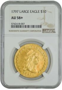 Click now to see the BUY IT NOW Price! 1797 $10 GOLD CAPPED BUST LARGE EAGLE AU58  NGC 942751 18