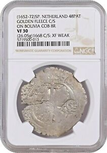 Click now to see the BUY IT NOW Price! BRABANT 48 PATARDS  1652 72  COUNTERMARKED ON BOLIVIA 8 REALES 1668 NGC VF30