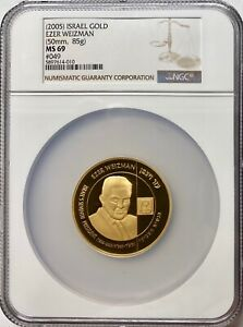 Click now to see the BUY IT NOW Price! 2005 ISRAEL 1.5OZ GOLD 50MM EZER WEIZMAN MEDAL NGC MS69