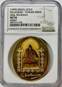 Click now to see the BUY IT NOW Price! 1999 ISRAEL GOLD 45X36MM TANGIER BRIDE MEDAL NGC MS 66