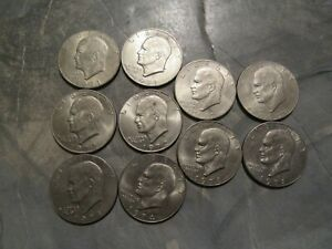 10 EISENHOWER DOLLAR COINS 1971PD 1972PD 1974PD 1976PD 1978PD LOT 1