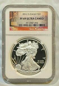 2012 S PROOF SILVER EAGLE DOLLAR 1 OZ SILVER COIN NGC PF69  ULTRA CAMEO