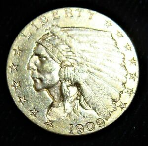 1909 QUARTER EAGLE $2.5 GOLD INDIAN BU.