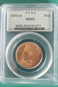 1910 D PCGS MS63 $10 INDIAN EAGLE DENVER BETTER DATE GOLD COIN OGH PRE 33 EBUX