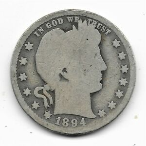 1894 O BARBER QUARTER   GOOD CONDITION 90  SILVER US COIN