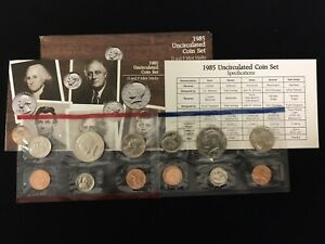 1985 P&D 10 COIN UNCIRCULATED MINT SET IN ORIGINAL US MINT PACKAGING