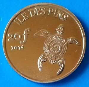 ILE DES PINS   NEW CALEDONIA 20 FRANCS 2014 UNC TURTLE SHELL UNUSUAL COIN