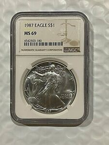 1987 AMERICAN SILVER EAGLE COIN  NGC MS69   180