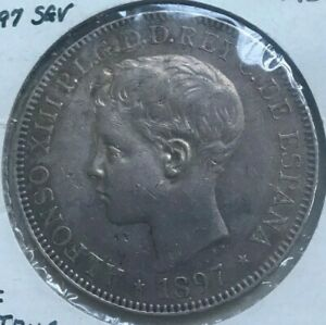 Click now to see the BUY IT NOW Price! 1897 PHILIPPINES PESO   XF DETAILS REVERSE SCRATCHED    TYPE