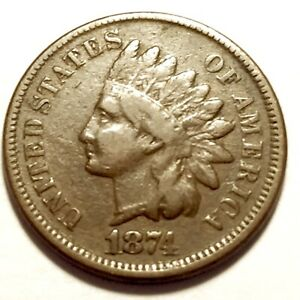 1874   INDIAN HEAD CENT   PENNY    FINE 1