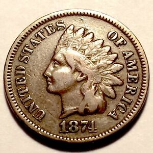1874   INDIAN HEAD CENT   PENNY    FINE