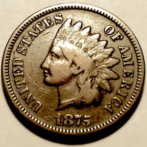 1875   INDIAN HEAD CENT   PENNY   FINE