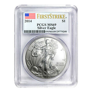 2014 $1 AMERICAN SILVER EAGLE MS69 PCGS   FIRST STRIKE