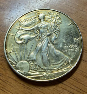2014 AMERICAN SILVER EAGLE DOLLAR COIN 1 OZ .999 FINE WALKING LIBERTY GOLD TONED