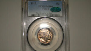 1913 TYPE 2 PCGS MS66 CAC BUFFALO NICKEL  SUPERB GEM  STRONG STRIKE & NICE COLOR