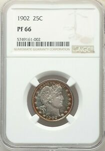 1902 25C BARBER QUARTER NGC PF66 COLORFUL SHARP CLEAN  PROOF ON SALE  777