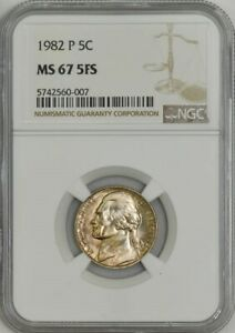 Click now to see the BUY IT NOW Price! 1982 JEFFERSON NICKEL 5C MS67 5FS NGC 942987 11