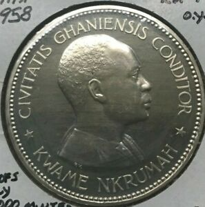Click now to see the BUY IT NOW Price! 1958 GHANA 10 SHILLINGS SILVER PROOF   SOME HAIRLINES / FRICTION