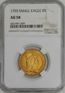 1795 $5 GOLD CAPPED BUST SMALL EAGLE AU58 NGC 942091 9