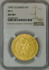 Click now to see the BUY IT NOW Price! 1795 $10 GOLD CAPPED BUST 13 LEAVES BD 2 AU58  NGC 942132 11