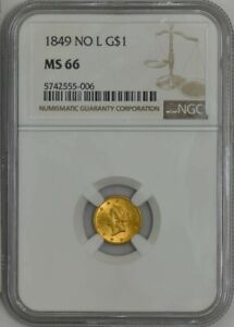 Click now to see the BUY IT NOW Price! 1849 NO L $ GOLD LIBERTY DOLLAR MS66 NGC 942900 12