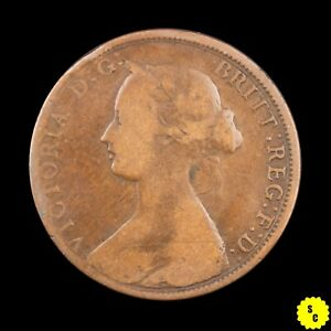 1861 NOVA SCOTIA ONE CENT F CONDITION LARGE BUD VARIETY CANADA PENNY KM 8.2