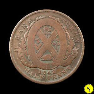 1842 PROVINCE OF CANADA BANK OF MONTREAL HALF PENNY TOKEN G CONDITION