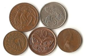 FIVE COINS FROM NEW ZEALAND 1 2 5 AND 10 CENTS 1967   2006