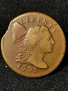 1795 LARGE CENT CLIPPED PLANCHET  NICE BROWN COLOR HIGHER GRADE SLIGHTLY GRAN