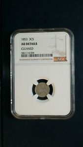 1853 THREE CENT SILVER NGC ABOUT UNCIRCULATED 3CS SILVER COIN PRICED TO SELL NOW