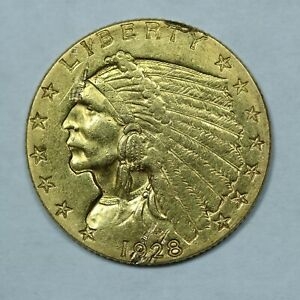 1928 $2.50 GOLD INDIAN HEAD QUARTER EAGLE COIN