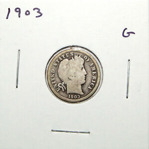 1903 US BARBER SILVER DIME  GOOD  91C