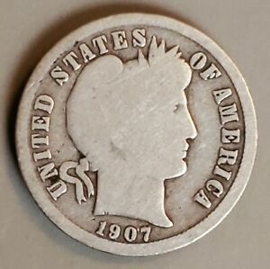 1907 O SILVER BARBER DIME IN GOOD CONDITION   NO PROBLEMS