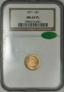 1871 $ GOLD INDIAN MS65 PL PROOF LIKE NGC CAC 943439 5