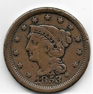 1853 LARGE CENT   GOOD CONDITION