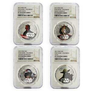 Click now to see the BUY IT NOW Price! NIUE SET OF 4 COINS STAR WARS YODA AMIDALA ANAKIN PF 70 NGC SILVER COIN 2012