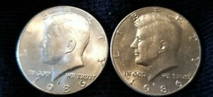 KENNEDY HALF 1986 P.  2  TWO COINS  AU.  TWO COINS. C01112K7