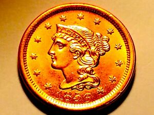 1856 LARGE CENT   GEM BU RED   GREAT MINT LUSTER