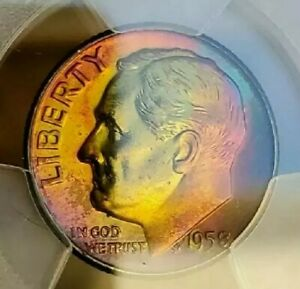 Click now to see the BUY IT NOW Price!   PCGS MS66  1958 D ROOSEVELT 10C  2 CIDED RAINBOW TONED