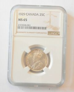 Click now to see the BUY IT NOW Price! 1929 CANADA 25 CENTS QUARTER NGC GRADED MS65 WOW WHAT A COIN.
