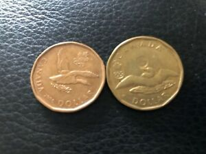 2 CANADA LUCKY LOONIES CIRCULATED OPEN WINGS DUCK OLYMPIC 2006 &2012