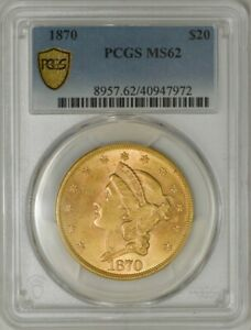 Click now to see the BUY IT NOW Price! 1870 $20 GOLD LIBERTY MS62 PCGS SECURE 943227 14