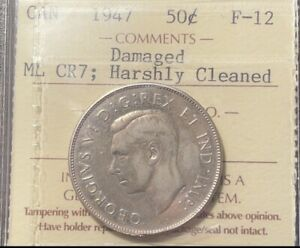 Click now to see the BUY IT NOW Price! 50 CENTS 1947 CURVED MAPLE LEAF ICCS F12