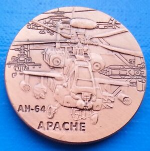 AH 64 APACHE HELICOPTER   US ARMY UNC MILITARY 40MM UNUSUAL COIN