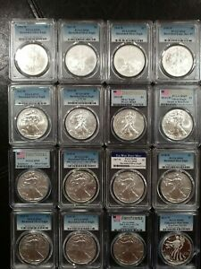 Click now to see the BUY IT NOW Price! BURNISHED SILVER EAGLE 2006 2020 SET PCGS SP/MS69 W/2011S & 2013W 16 TOTAL COINS